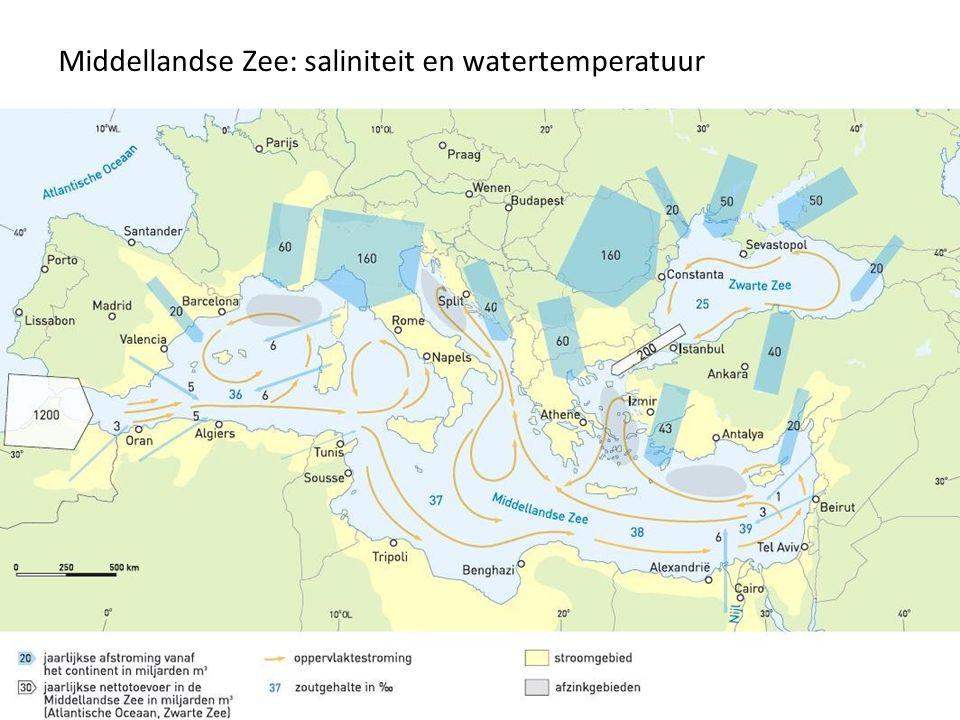 Middellandse Zee: saliniteit en watertemperatuur