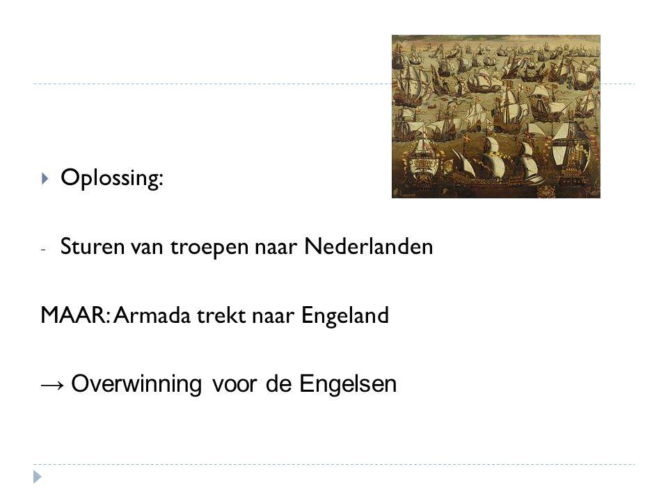 Oplossing: Sturen van troepen naar Nederlanden. MAAR: Armada trekt naar Engeland.