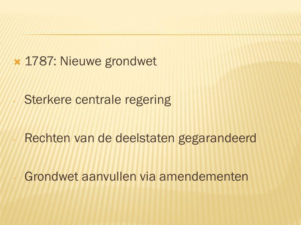 1787: Nieuwe grondwet Sterkere centrale regering. Rechten van de deelstaten gegarandeerd.
