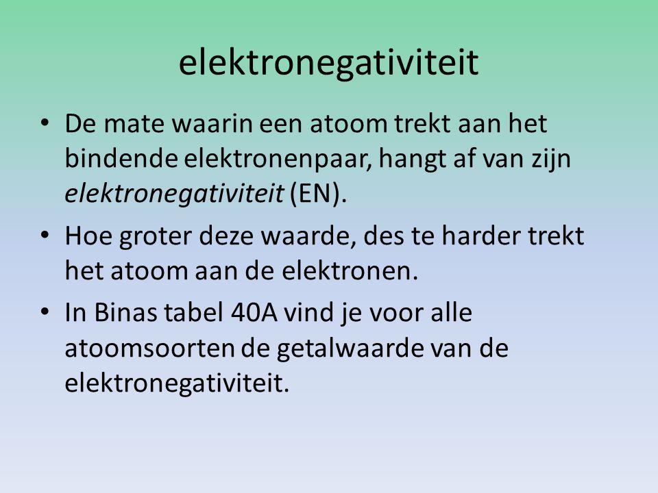 elektronegativiteit De mate waarin een atoom trekt aan het bindende elektronenpaar, hangt af van zijn elektronegativiteit (EN).