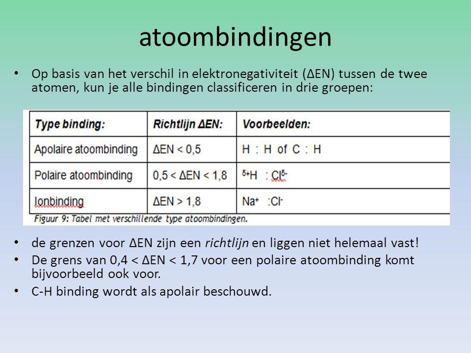 atoombindingen Op basis van het verschil in elektronegativiteit (ΔEN) tussen de twee atomen, kun je alle bindingen classificeren in drie groepen: