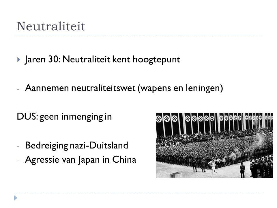 Neutraliteit Jaren 30: Neutraliteit kent hoogtepunt