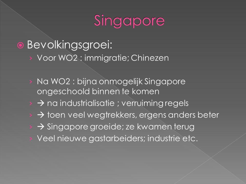 Singapore Bevolkingsgroei: Voor WO2 : immigratie; Chinezen