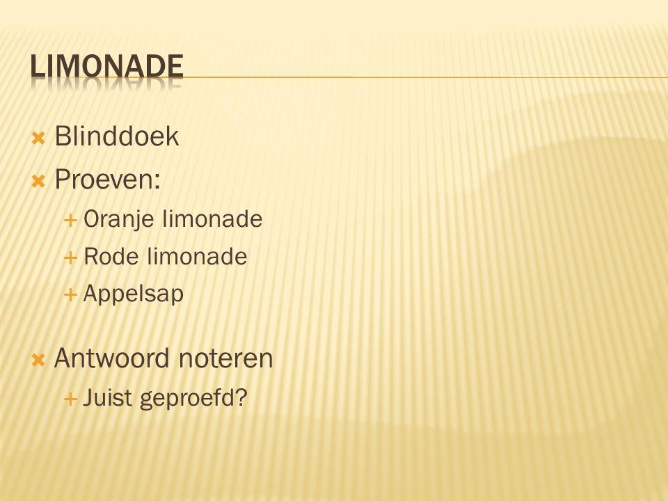limonade Blinddoek Proeven: Antwoord noteren Oranje limonade