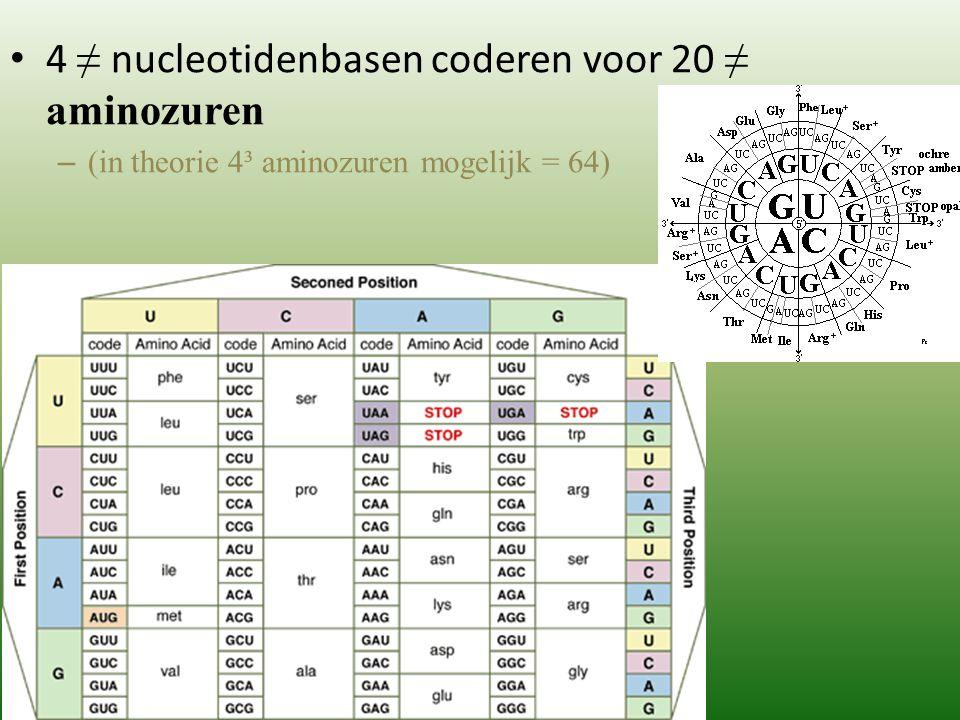 4 ≠ nucleotidenbasen coderen voor 20 ≠ aminozuren