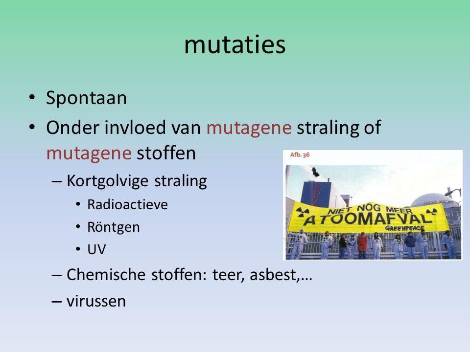 mutaties Spontaan. Onder invloed van mutagene straling of mutagene stoffen. Kortgolvige straling.