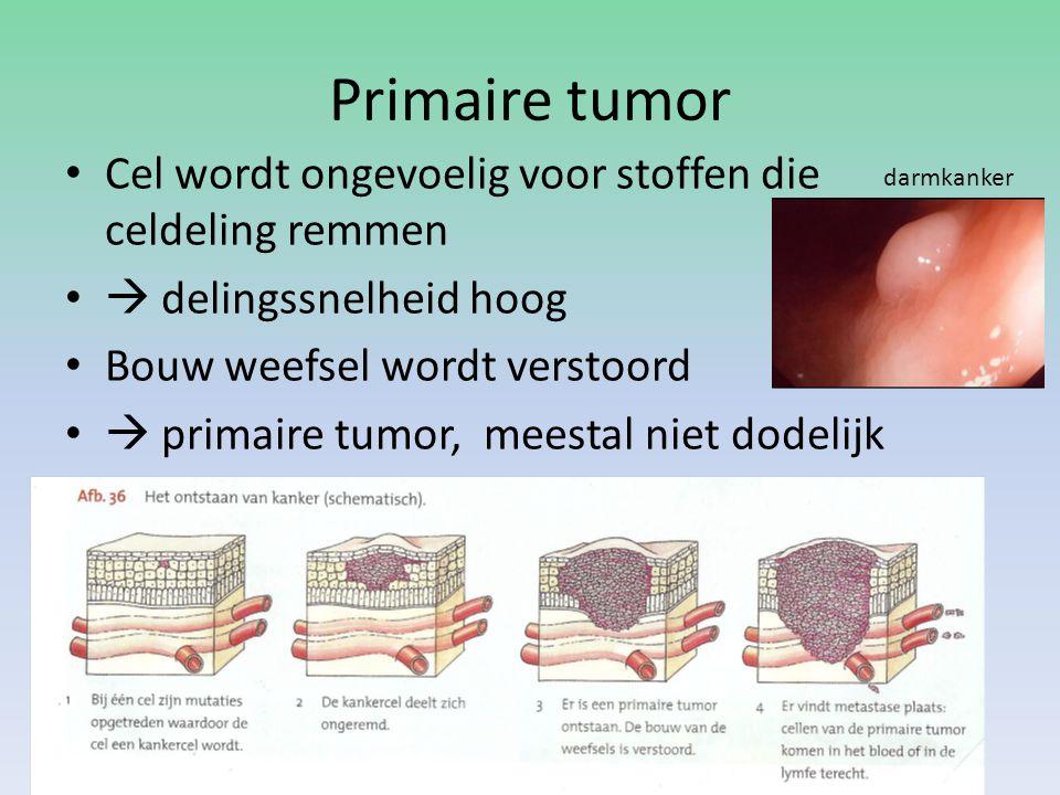 Primaire tumor Cel wordt ongevoelig voor stoffen die celdeling remmen