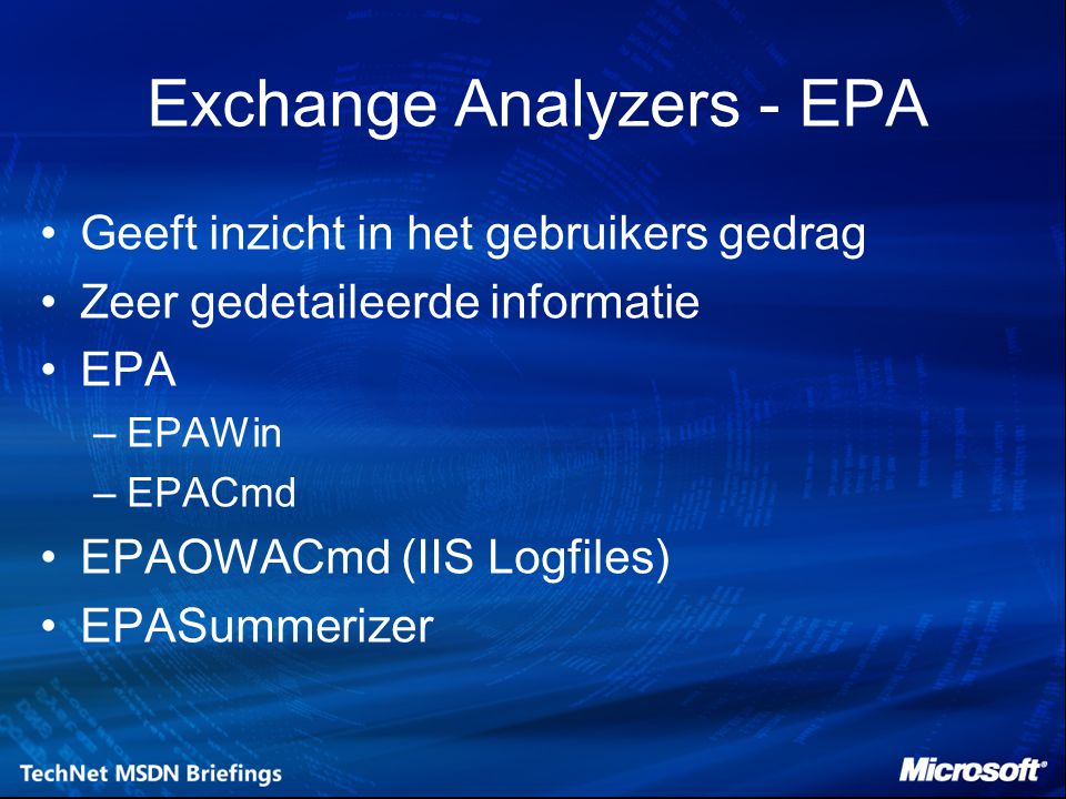 Exchange Analyzers - EPA