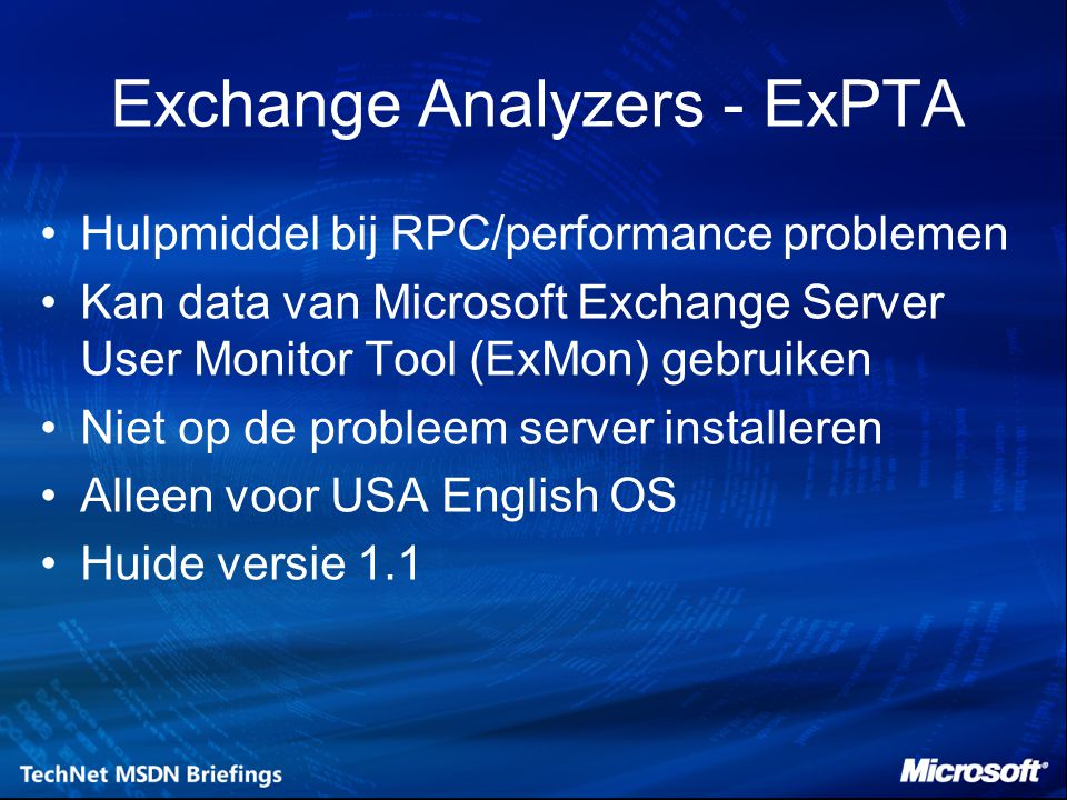 Exchange Analyzers - ExPTA