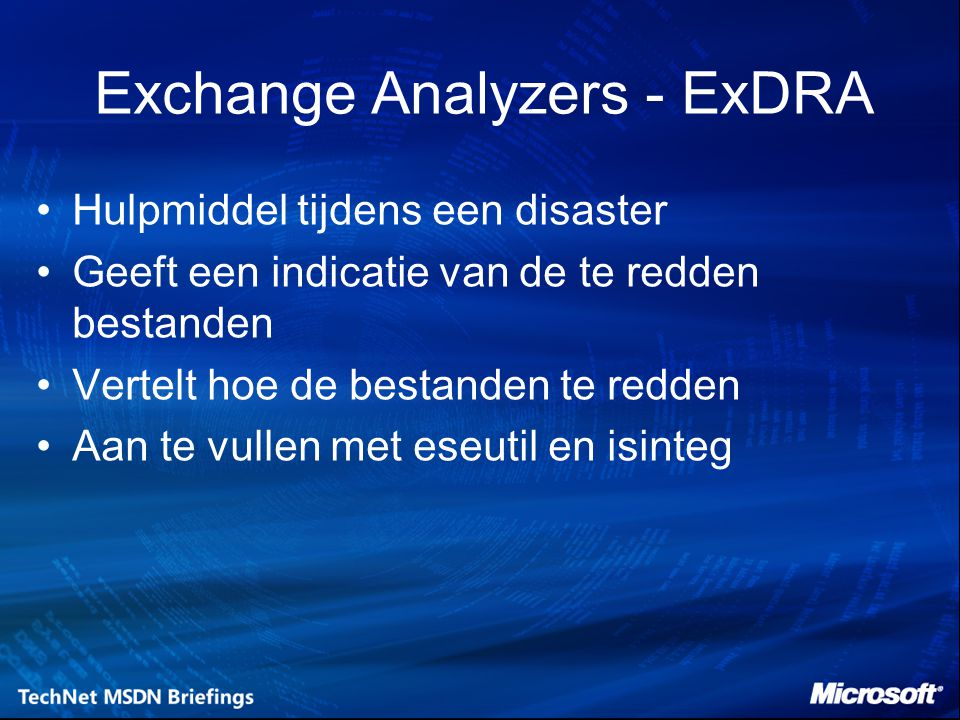Exchange Analyzers - ExDRA