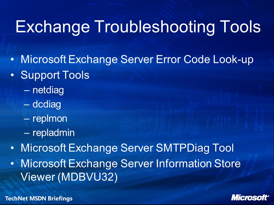 Exchange Troubleshooting Tools