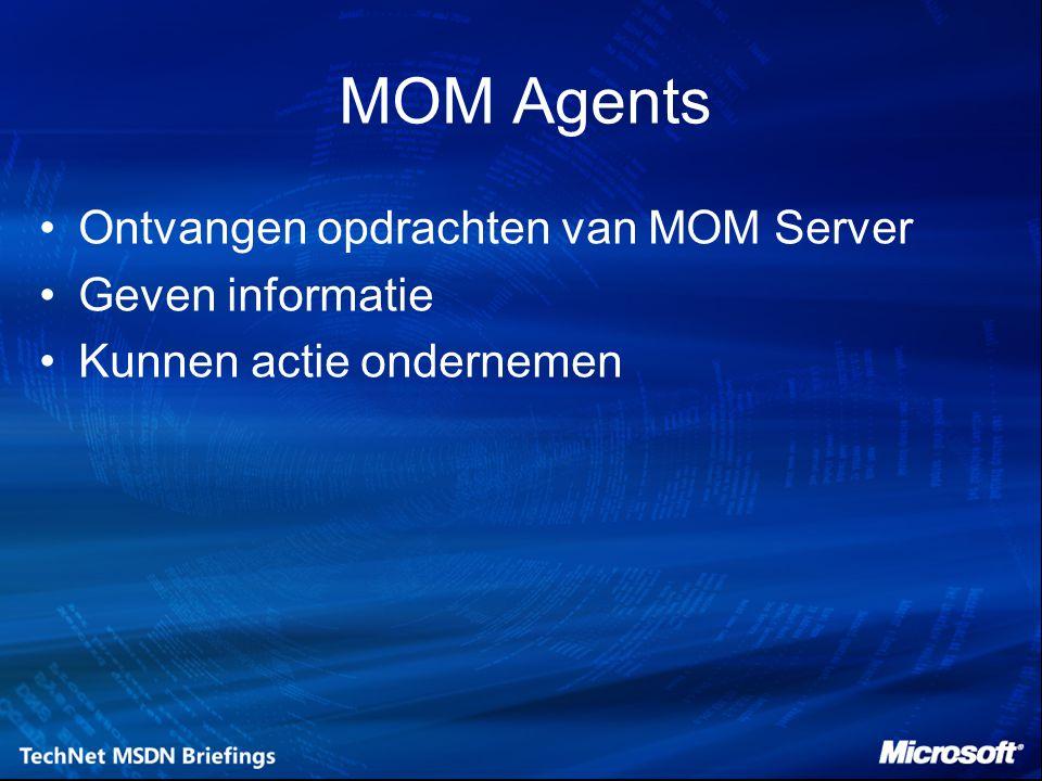 MOM Agents Ontvangen opdrachten van MOM Server Geven informatie