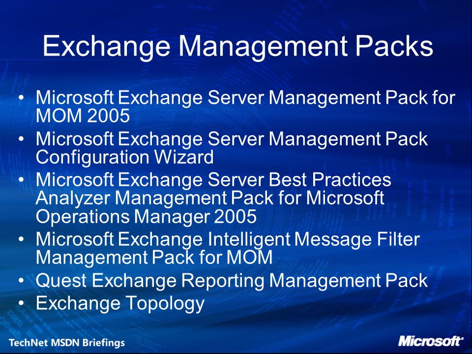 Exchange Management Packs