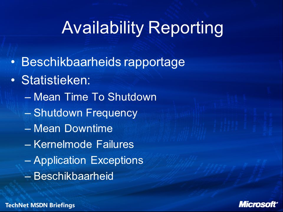 Availability Reporting