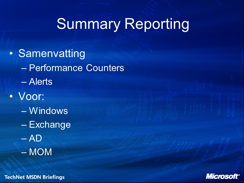 Summary Reporting Samenvatting Voor: Performance Counters Alerts