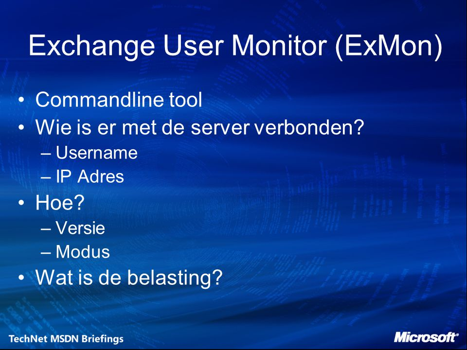 Exchange User Monitor (ExMon)