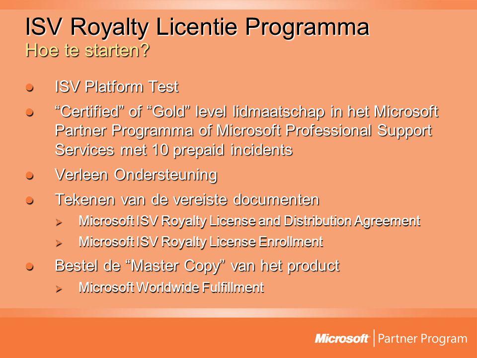 ISV Royalty Licentie Programma Hoe te starten