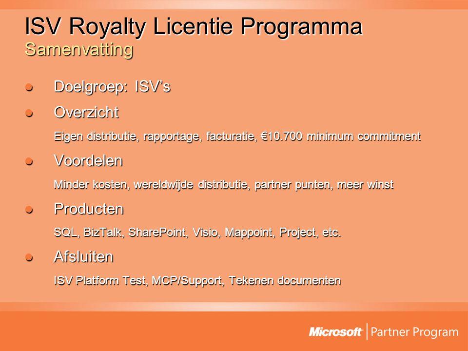 ISV Royalty Licentie Programma Samenvatting