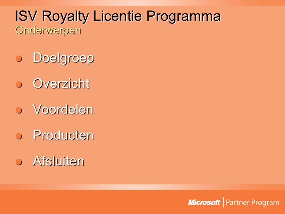 ISV Royalty Licentie Programma Onderwerpen