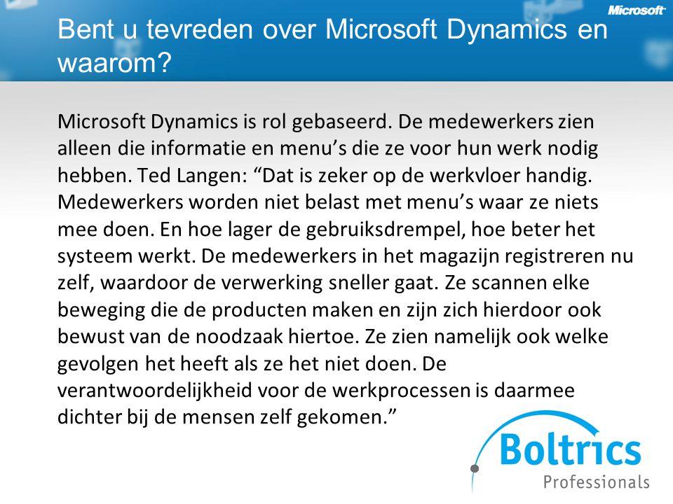 Bent u tevreden over Microsoft Dynamics en waarom