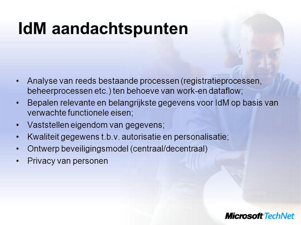 IdM aandachtspunten Analyse van reeds bestaande processen (registratieprocessen, beheerprocessen etc.) ten behoeve van work-en dataflow;