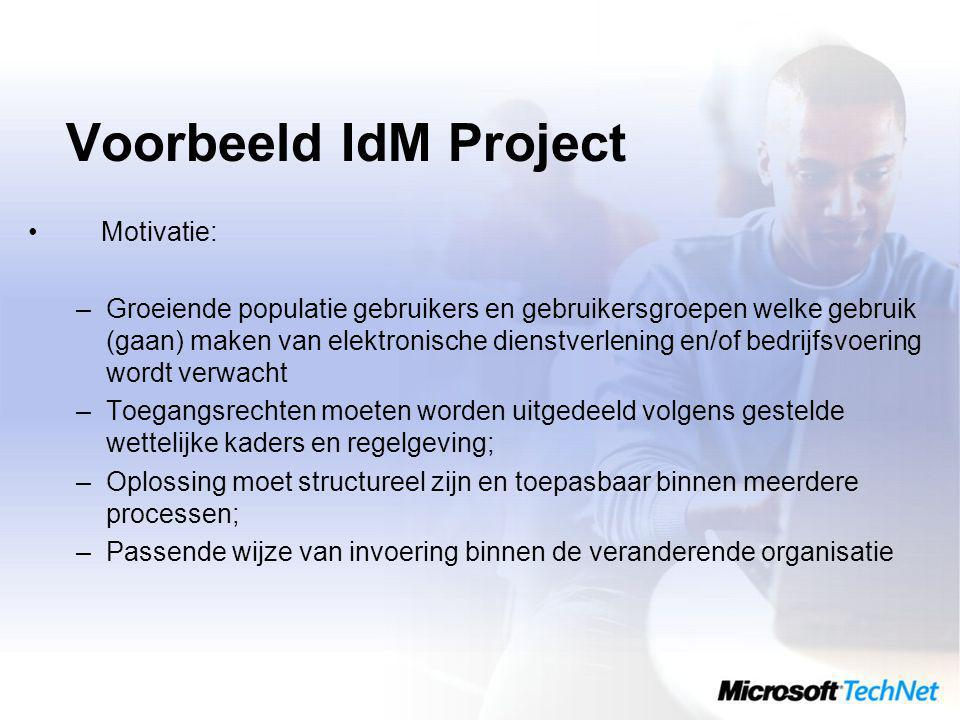 Voorbeeld IdM Project Motivatie: