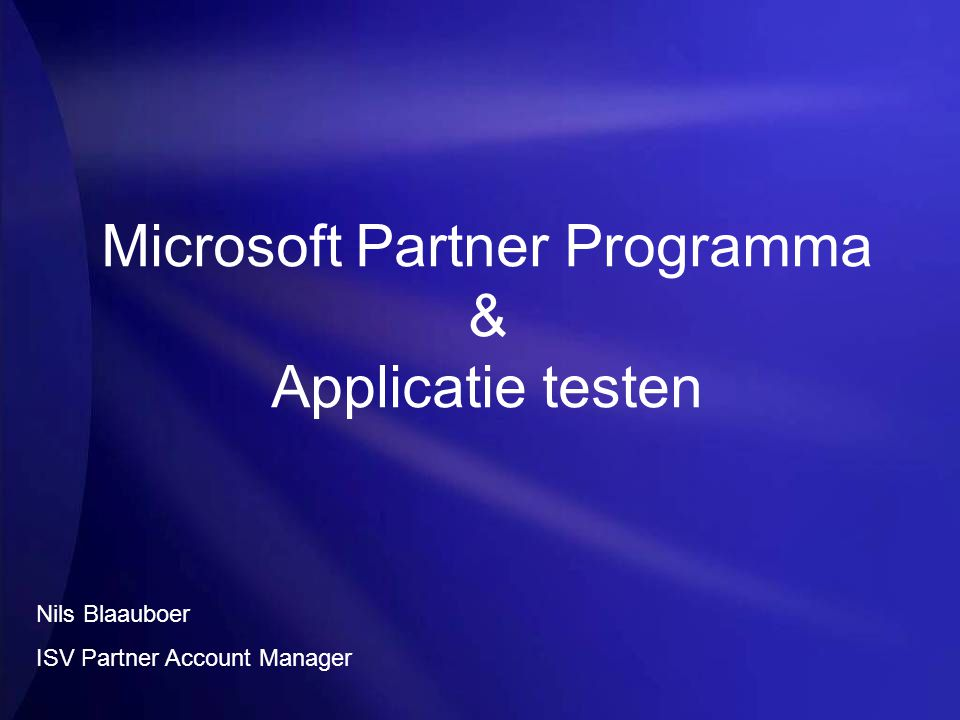 Microsoft Partner Programma & Applicatie testen