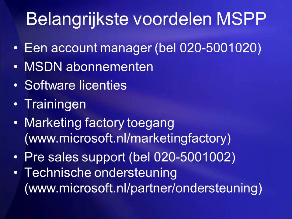 Belangrijkste voordelen MSPP
