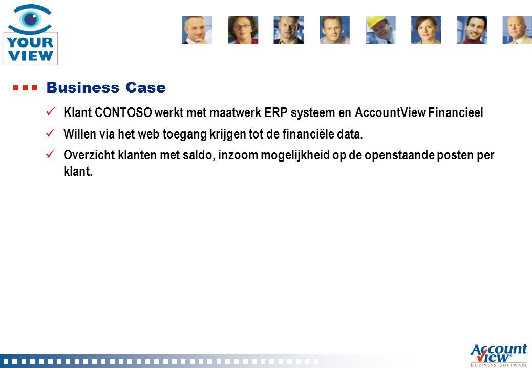 Business Case Klant CONTOSO werkt met maatwerk ERP systeem en AccountView Financieel. Willen via het web toegang krijgen tot de financiële data.