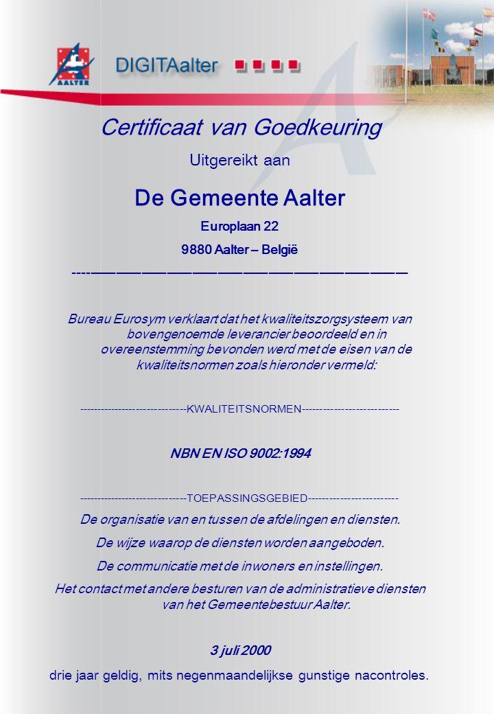 Certificaat van Goedkeuring De Gemeente Aalter