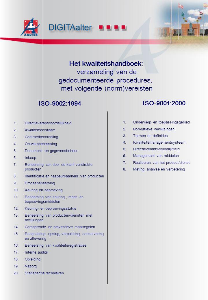 Het kwaliteitshandboek: verzameling van de gedocumenteerde procedures,