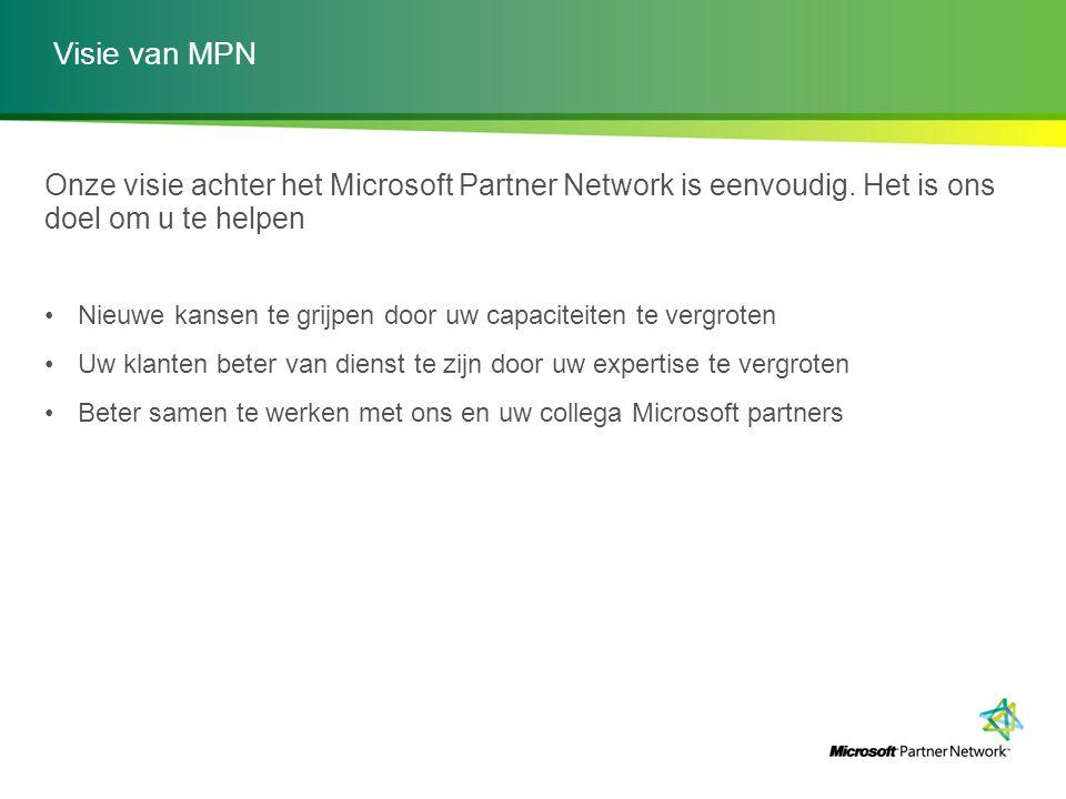 Visie van MPN Onze visie achter het Microsoft Partner Network is eenvoudig. Het is ons doel om u te helpen