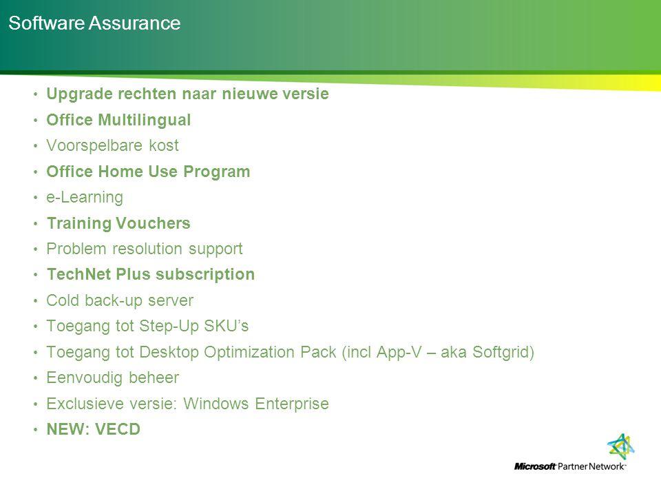 Software Assurance Upgrade rechten naar nieuwe versie
