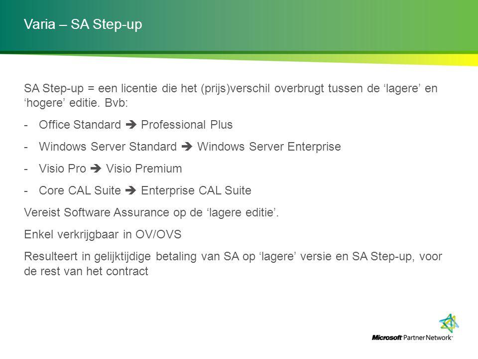 Varia – SA Step-up SA Step-up = een licentie die het (prijs)verschil overbrugt tussen de 'lagere' en 'hogere' editie. Bvb: