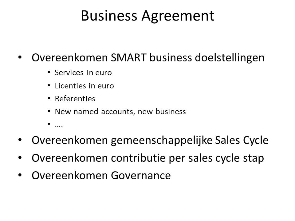 Business Agreement Overeenkomen SMART business doelstellingen