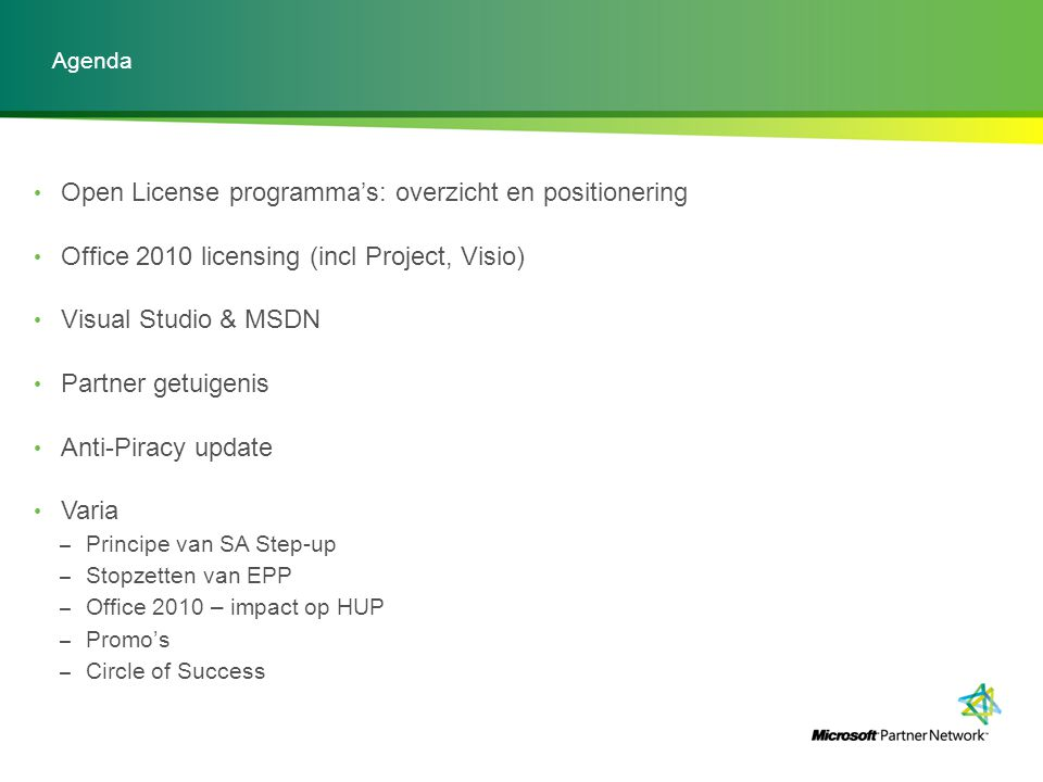 Open License programma's: overzicht en positionering