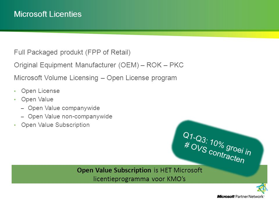 Open Value Subscription is HET Microsoft licentieprogramma voor KMO's