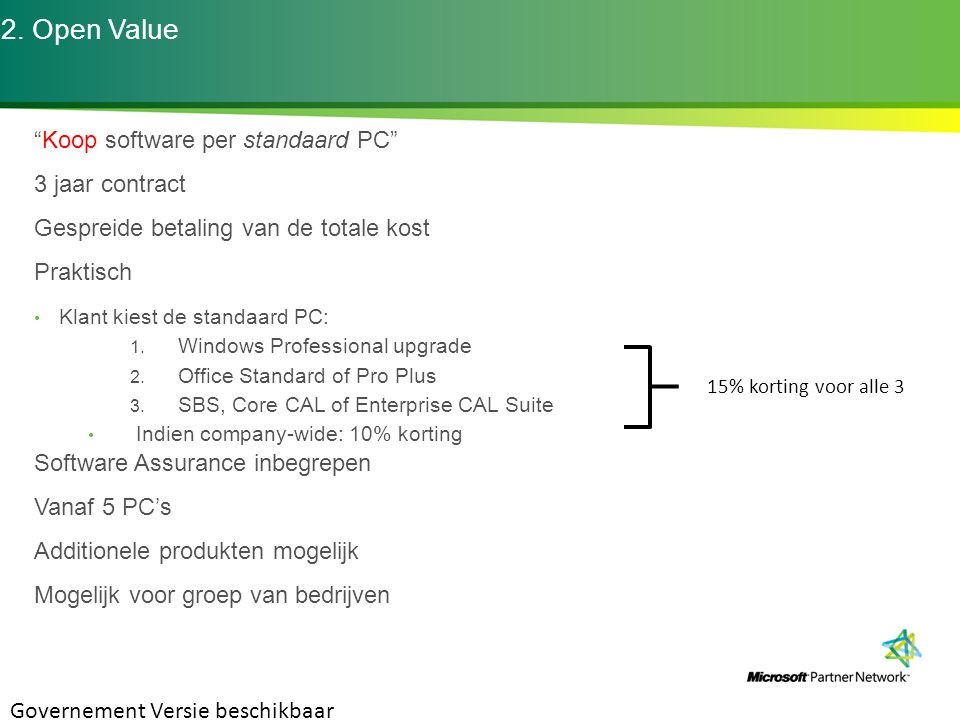 2. Open Value Koop software per standaard PC 3 jaar contract