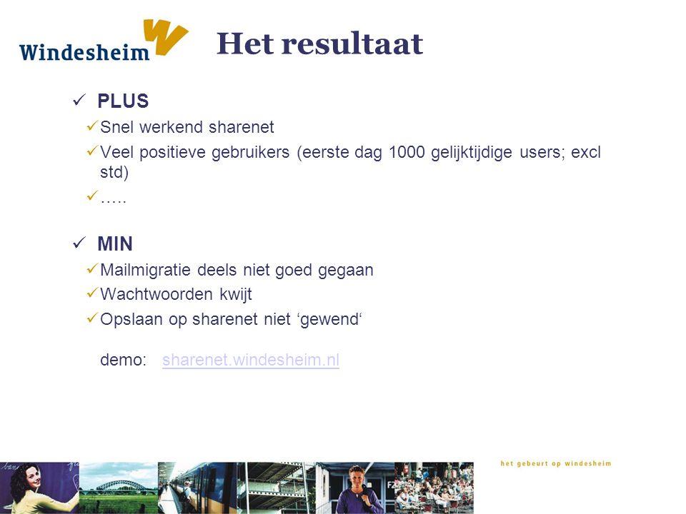 Het resultaat PLUS MIN Snel werkend sharenet