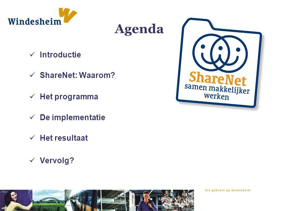 Agenda Introductie ShareNet: Waarom Het programma De implementatie