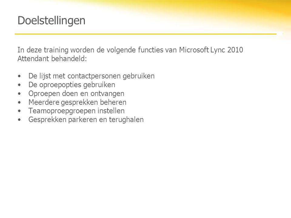 Doelstellingen In deze training worden de volgende functies van Microsoft Lync 2010 Attendant behandeld: