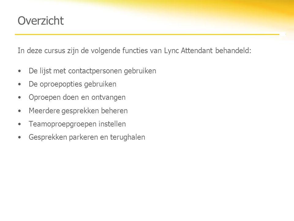 Overzicht In deze cursus zijn de volgende functies van Lync Attendant behandeld: De lijst met contactpersonen gebruiken.