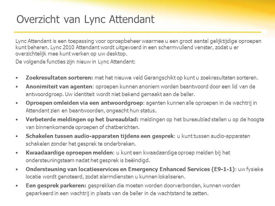 Overzicht van Lync Attendant