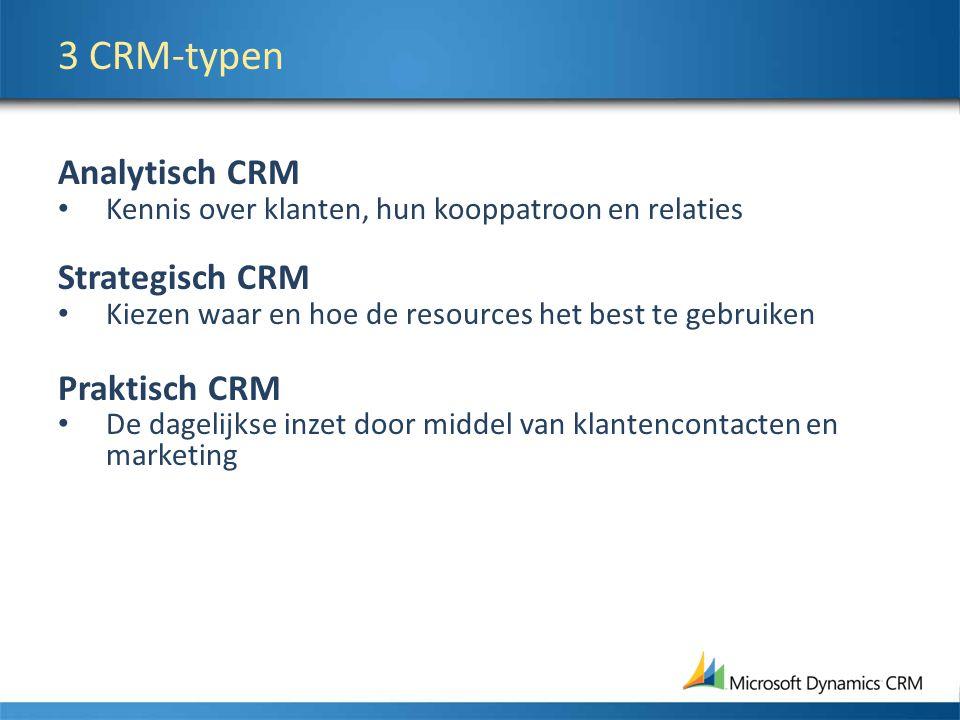 3 CRM-typen Analytisch CRM Strategisch CRM Praktisch CRM