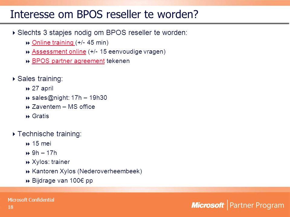Interesse om BPOS reseller te worden