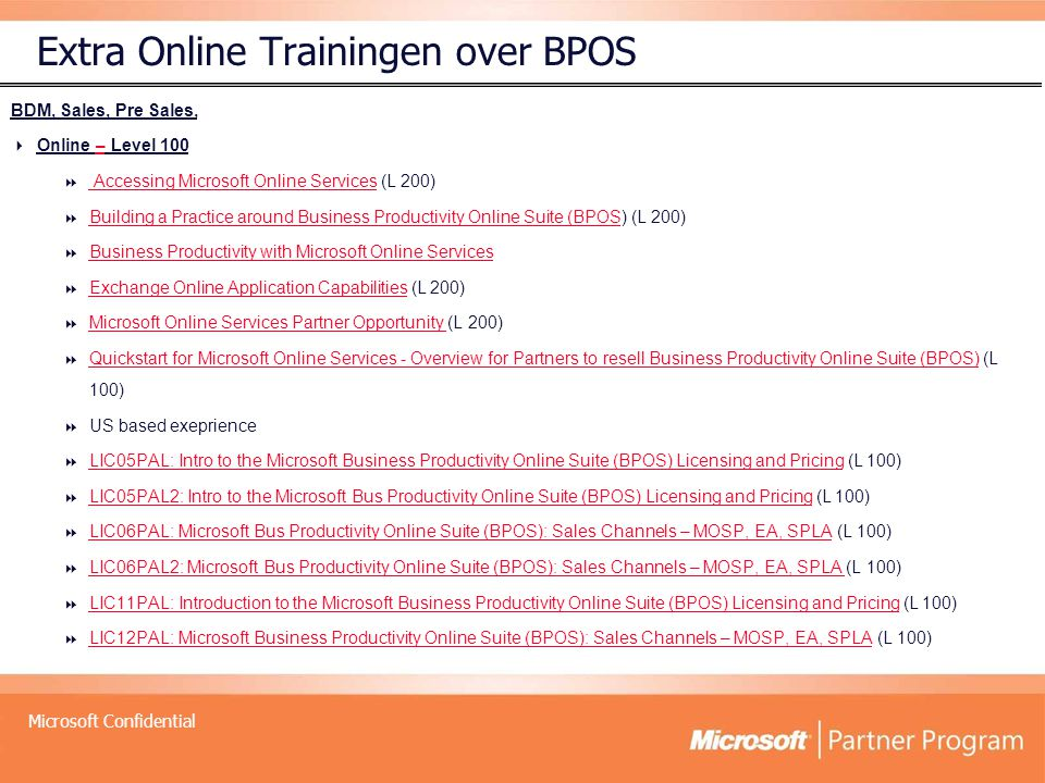 Extra Online Trainingen over BPOS