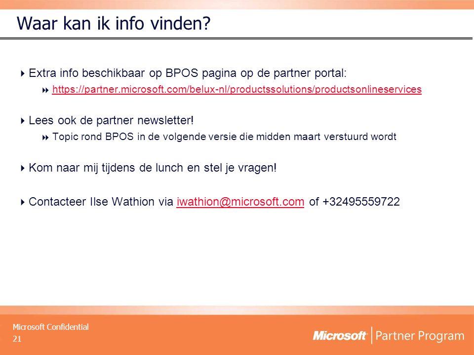 Waar kan ik info vinden Extra info beschikbaar op BPOS pagina op de partner portal:
