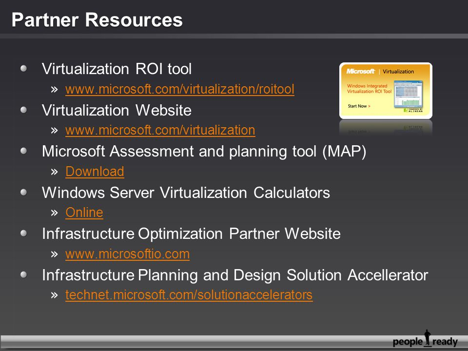 Partner Resources Virtualization ROI tool Virtualization Website