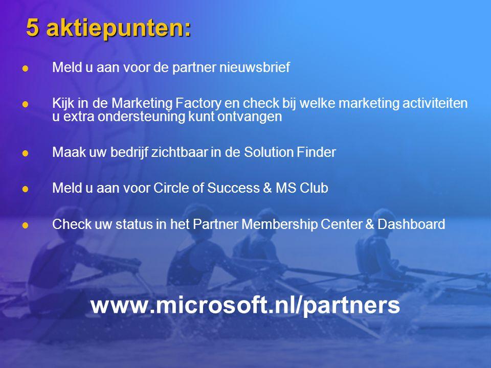 5 aktiepunten: www.microsoft.nl/partners