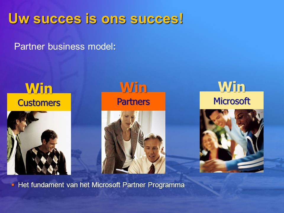 Uw succes is ons succes! Win Win Win Partner business model: Partners